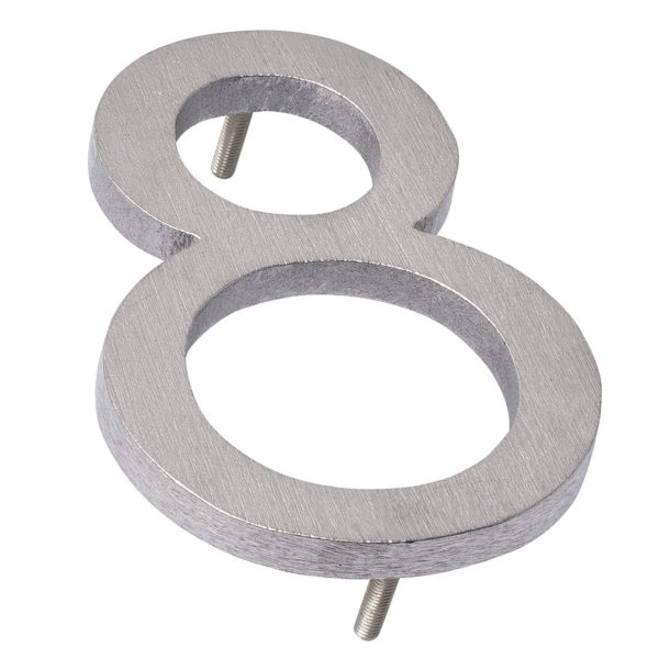 """6"""" Brushed Aluminum floating or flat Modern House Numbers 0-9"""