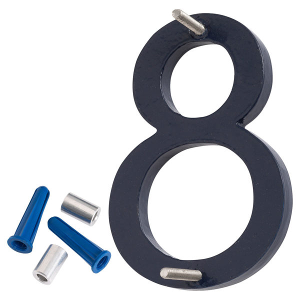 """4"""" Navy Aluminum floating or flat Modern House Numbers 0-9"""