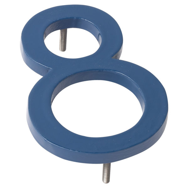 "4"" Sea Blue Aluminum floating or flat Modern House Numbers 0-9"