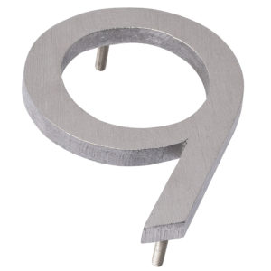 "10"" Brushed Aluminum floating or flat Modern House Numbers 0-9"