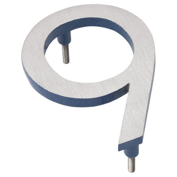 """6"""" Satin Nickel/Sea Blue Two Tone Aluminum floating or flat Modern House Numbers 0-9"""