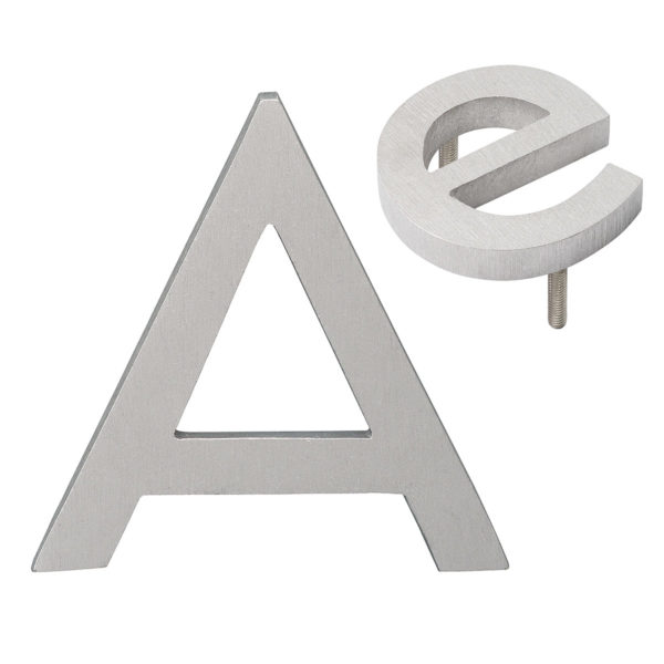 """4""""  Individual Polished Brushed Aluminum Modern Floating Uppercase and Lowercase Letters A-Z"""