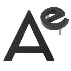 "10"" Individual Black Powder Coated Aluminum Modern Floating Letters A-Z"