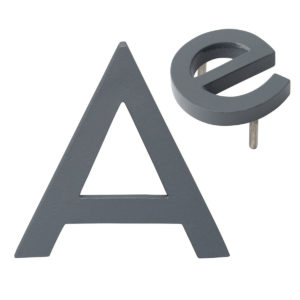 "10"" Individual Gray Powder Coated Aluminum Modern Floating Letters A-Z"