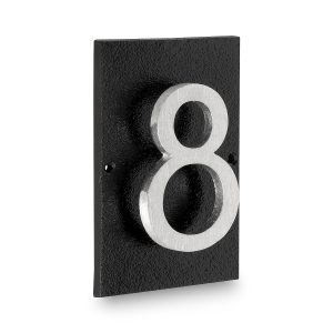 """Floating Modern 6"""" Number Horizontal Address Plaque with Lawn Stakes (1 character)"""