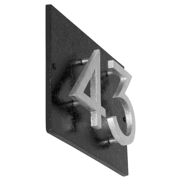 """Floating Modern 6"""" Number Horizontal Address Plaque with Lawn Stakes (2 characters)"""