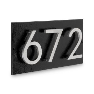 """Floating Modern 6"""" Number Horizontal Address Plaque with Lawn Stakes (3 characters)"""
