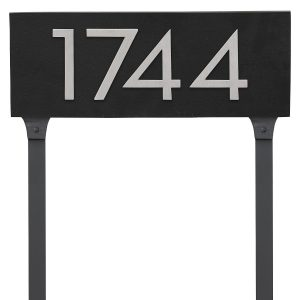 """Floating Modern 6"""" Number Horizontal Address Plaque with Lawn Stakes (4 characters)"""