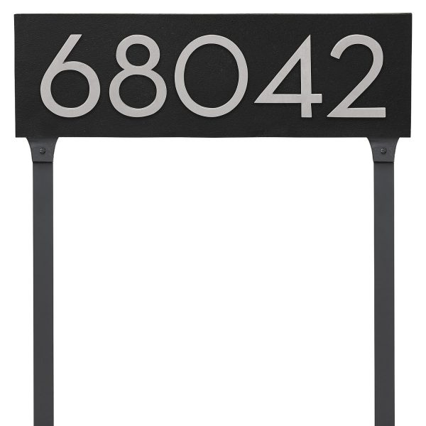 """Floating Modern 6"""" Number Horizontal Address Plaque with Lawn Stakes (5 characters)"""